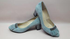 Wizytowe buty damskie szare czółenka 412