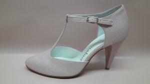 764 Różowe buty ślubne z paseczkiem T-bar
