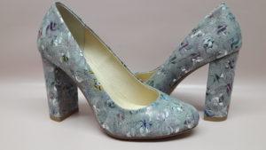 Wizytowe buty damskie szare czółenka 422